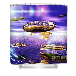 Fleet Dense Shower Curtain by Jacqueline Lloyd