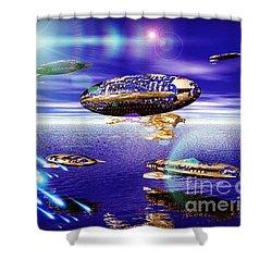 Fleet Tropical Shower Curtain by Jacqueline Lloyd