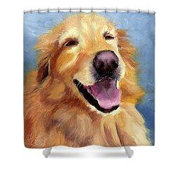 Fletcher Laughing Shower Curtain by Alice Leggett