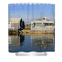 Shower Curtain featuring the photograph Fletchers Camp And The Little House Sandy Neck by Charles Harden