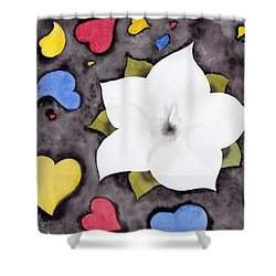 Shower Curtain featuring the painting Fleur Et Coeurs by Marc Philippe Joly