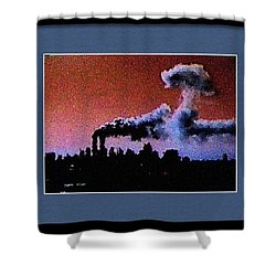 Shower Curtain featuring the digital art Flight 175 Mushroom Cloud Framed Example by James Kosior