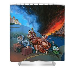 Flight Of Lot Out From Sodom Shower Curtain