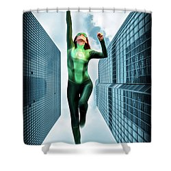 Flight Of The Green Lantern Shower Curtain