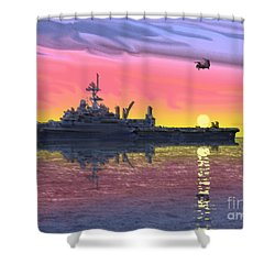 Flight Ops At Sunset Shower Curtain