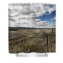 Shower Curtain featuring the photograph Flinders Ranges Fields V2 by Douglas Barnard