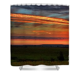 Shower Curtain featuring the photograph Flint Hills Sunrise by Thomas Bomstad