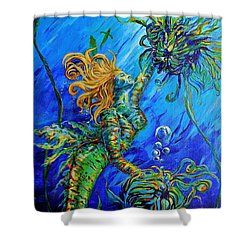 Floating Blond Mermaid Shower Curtain