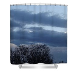Shower Curtain featuring the photograph Floating Blue Clouds by Don Koester