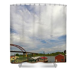 Floating Boat House Living By Sauvie Island Shower Curtain by David Gn