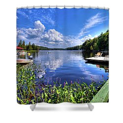 Shower Curtain featuring the photograph Floating Bridge At Covewood by David Patterson