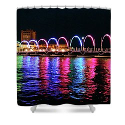 Shower Curtain featuring the photograph Floating Bridge, Willemstad, Curacao by Kurt Van Wagner