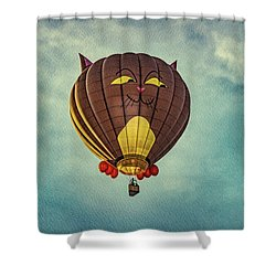 Floating Cat - Hot Air Balloon Shower Curtain by Bob Orsillo