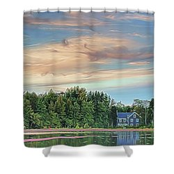 Floating Cranberries In Front Of Suningive Whitesbog Nj Shower Curtain