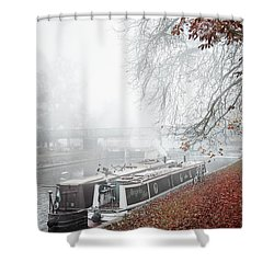 Floating Homes Of  River Cam Shower Curtain by Eden Baed