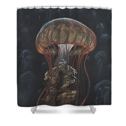Shower Curtain featuring the drawing Floating In The Deep by Jennifer Hotai