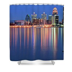 Shower Curtain featuring the photograph Floating Log Louisville Lights, by Frozen in Time Fine Art Photography