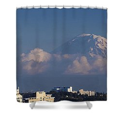 Floating Mountain Shower Curtain by Ed Clark