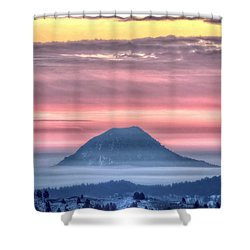 Floating Mountain Shower Curtain by Fiskr Larsen