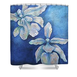 Floating Orchid Shower Curtain by Shadia Derbyshire