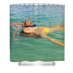 Floating Young Couple Shower Curtain by Tomas del Amo - Printscapes
