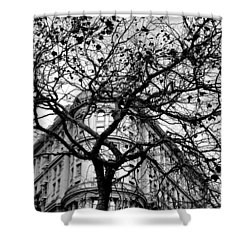 Flood Building - San Francisco - Corner Tree View Black And White Shower Curtain