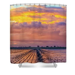 Flooded Field At Sunset Shower Curtain