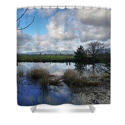 Shower Curtain featuring the photograph Flooding River, Field And Clouds by Chriss Pagani