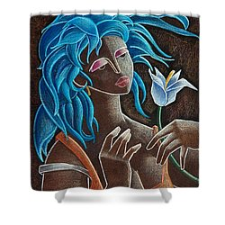 Flor Y Viento Shower Curtain by Oscar Ortiz