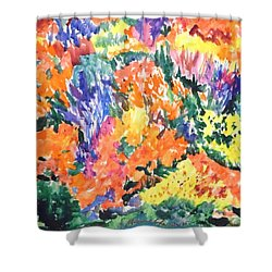 Flora Ablaze Shower Curtain by Esther Newman-Cohen