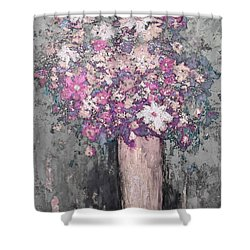 Floral Abstract - Reverse - Modern Impressionist Palette Knife Work Shower Curtain