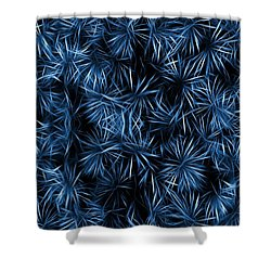 Floral Blue Abstract Shower Curtain by David Dehner