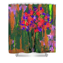 Shower Curtain featuring the painting Floral Impresions by P J Lewis