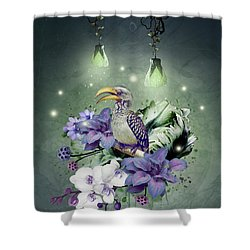 Floral Magic Hornbill Shower Curtain