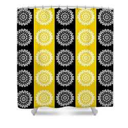 Floral Medallion Pattern In Black And Yellow Shower Curtain by Patricia Strand
