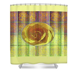 Floral Pattern And Design With Rose Center - Purple And Yellow Shower Curtain
