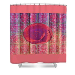 Floral Pattern And Design With Rose Center - Red And Blue Shower Curtain