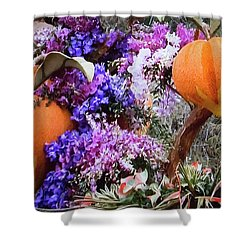 Shower Curtain featuring the photograph Floral Peaches by Linda Phelps
