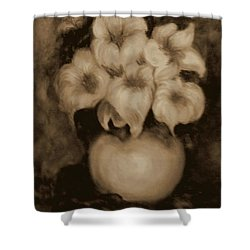 Floral Puffs In Brown Shower Curtain