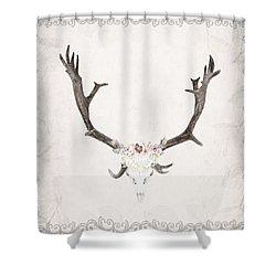 Floral Reindeer Skull  Shower Curtain