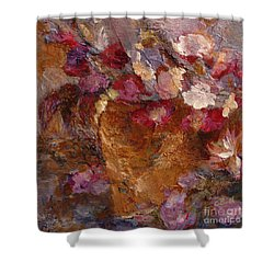 Floral Still Life Pinks Shower Curtain by Claire Bull