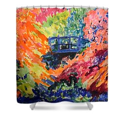 Floral View Of The Bridge Shower Curtain by Esther Newman-Cohen