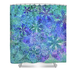 Floral Watercolor Blue Shower Curtain