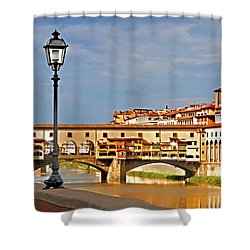 Florence Arno River View Shower Curtain by Dennis Cox WorldViews