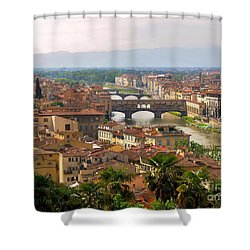 Shower Curtain featuring the photograph Florence Bridges by Haleh Mahbod