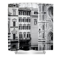Shower Curtain featuring the photograph Florence Italy View Bw by Joan Carroll