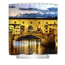 Florence - Ponte Vecchio Sunset From The Oltrarno - Vintage Version Shower Curtain