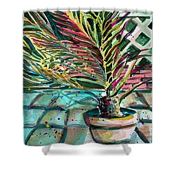 Shower Curtain featuring the painting Florescent Palm by Mindy Newman