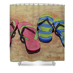Florida Dress Shoes Shower Curtain by Judy Mercer