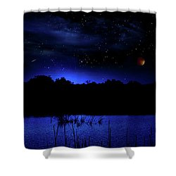 Florida Everglades Lunar Eclipse Shower Curtain by Mark Andrew Thomas